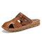 Mens Closed Toe Beach Sandals Hole Leather Dress Sandals - Yellow