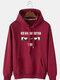 Mens Cotton Letter Finger Print Fleece Lined Hoodie With Kangaroo Pocket - Wine Red