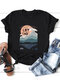 Letter Printed Casual Short Sleeve O-neck T-shirt For Women - Black