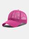 Unisex Mesh Breathable Outdoor Sonnenschutz Solid Trucker Hut Baseball Hut - Rosa