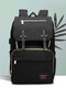 Women Multifunction Large Capacity Patchwork Mommy Backpack - Black