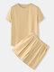Mens Solid Crew Neck Drawstring Cotton Casual Short Two Pieces Outfits - Apricot