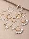 7 Pcs Elegant C-Shaped Women Earrings Set Temperament Pearl Ear Stud Jewelry Gift - Gold