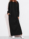Solid Color Long Sleeves Casual Hooded Maxi Dress - Black