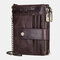 Men Genuine Leather RFID Chains Multi-slots Retro Large Capacity Foldable Card Holder Coin Wallet - Brown