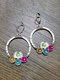 Vintage Big Circle Women Earrings Colored Synthesis Crystal Pendant Earrings - Silver