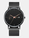 6 Colors Alloy Stainless Steel Men Vintage Business Watch Decorated Pointer Calendar Quartz Watch - Rose Gold Pointer Black Dial Bla
