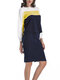Two Pieces Patchwork Long Sleeve Sweater Pencil Skirt - Yellow