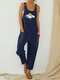 Daisy Floral Printed Straps Jumpsuit With Pocket - Navy