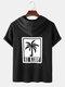 Mens Letter Coconut Tree Print Short Sleeve Hooded T-Shirt - Black