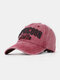 Men Cotton Letter Embroidery Sunshade Outdoor Casual Baseball Hat - Wine Red