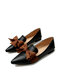 Large Size Women Solid Bowknot Flats Elegant Pointed Loafers Shoes - Black
