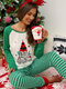 Women Plus Size Christmas Text Print Raglan Sleeve Striped Jogger Pants Home Casual Pajamas Set - Green