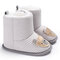 Baby Toddler Shoes Cute Comfy Cotton Cloth Warm Soft Sole Hook Loop Snow Boots - Grey White