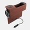 カーシートギャップ収納ボックスUSB充電ベルトデジタルディスプレイ収納ボックス多機能レザーカーウォーターカップホルダー - 褐色