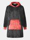 Men Flannel Oversized Contrast Color Blanket Hoodies Patched Sleeves & Kangaroo Pocket Wearable Blankets Robes - Black