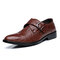 Men Leather Crocodile Pattern Ratro Formal Business Shoes - Brown