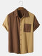Mens 100% Cotton Contrast Patchwork Lapel Casual Short Sleeve Shirts - Brown