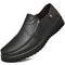 Men Cow Leather Slip On Casual Leather Shoes - Black