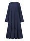 Solid Color O-neck Long Sleeve Plus Size Casual Dress with Pocket - Navy