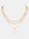 Fashion Metal Round Pearl Petal Multi-layer Necklace - Gold