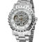 Luxury Men Watch Hollow Dial Alloy Band Waterproof Full Automatic Mechanical Watch - Silver+White
