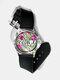 Casual Watercolor Women Wrist Watch PVC Band Leaf Bird Fruit Pattern Men Quartz Watch - #02