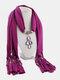Vintage Women Scarf Necklace Solid Color Leaf Pendant Shawl Necklace - #04