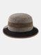 Men Felt Stitching Contrast Color Street Trend Retro Personality Bucket Hat Jazz Top Hat - Coffee