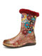 SOCOFY Elegant Colorful Cloth Splicing Printed Leather Comfy Warm Casual Flat Boots - Red