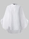 Women Solid Color Stand Collar Button Long Sleeve Casual Blouse - White