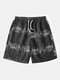 Men Plus Size Holiday Casual Striped Swim Trunks Lightweight Quick Drying Board Shorts - Black