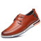 Men Microfiber Leather Non Slip Soft Air-cushionSole Casual Driving Shoes - Brown