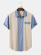 Mens Two Tone Stitching Button Up Preppy Short Sleeve Shirts - Blue