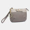 Women Patchwork Genuine Leather 2 Card Slots Money Clip Wallet Purse Coin Purse - Grey