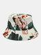 Cappello da pescatore con stampa floreale su due lati unisex in cotone double face Modello - bianca