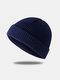 Bonnet unisexe en laine tricoté de couleur unie Casquettes de crâne Bonnets sans bord - Marine