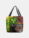 Women Polyester Cat Clover Happy St Patrick Day Pattern Print Handbag Shoulder Bag Tote - Green