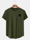 Mens Fun Letter Graphic Curved Hem Cotton Short Sleeve T-Shirts - Army Green