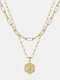 Luxury 14K Gold Plated Hexagonal Women Necklace Gold Layered Paperclip Link 26 Initials Pendant Necklace - J