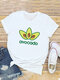 Letters Cartoon Printed Short Sleeve O-neck T-Shirt For Women - White