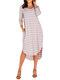 Asymmetrical Striped V-neck Plus Size Dress - Pink