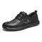 Menico Men Retro Cow Leather Slip Resistant Soft Sole Casual Shoes  - Black
