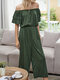 Solid Color Ruffle Short Sleeve Off Shoulder Casual Jumpsuit - Green