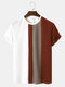 Mens Block Stripe Stitching Knitted Preppy Short Sleeve T-Shirts - Coffee