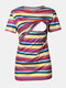 Maternity Striped Blouse Shirt with Functional Nursing Design For Pregnancy Women - Striped