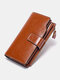 Vintage Genuine Leather Trifold RFID Anti-Theft Stitch Craft Multi-Slots Snap Clasp 6.5 Inch Phone Bag Long Wallet - Brown