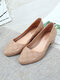 Women Casual Jelly Pointed Toe Gingham Block Heels Loafers - Apricot