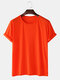 Mens Solid Color Cotton Round Neck Short Sleeve Casual Basic T-Shirts - Orange