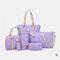 Women 6 PCS Print Large Capacity Handbag Shoulder Bag Tote - Purple